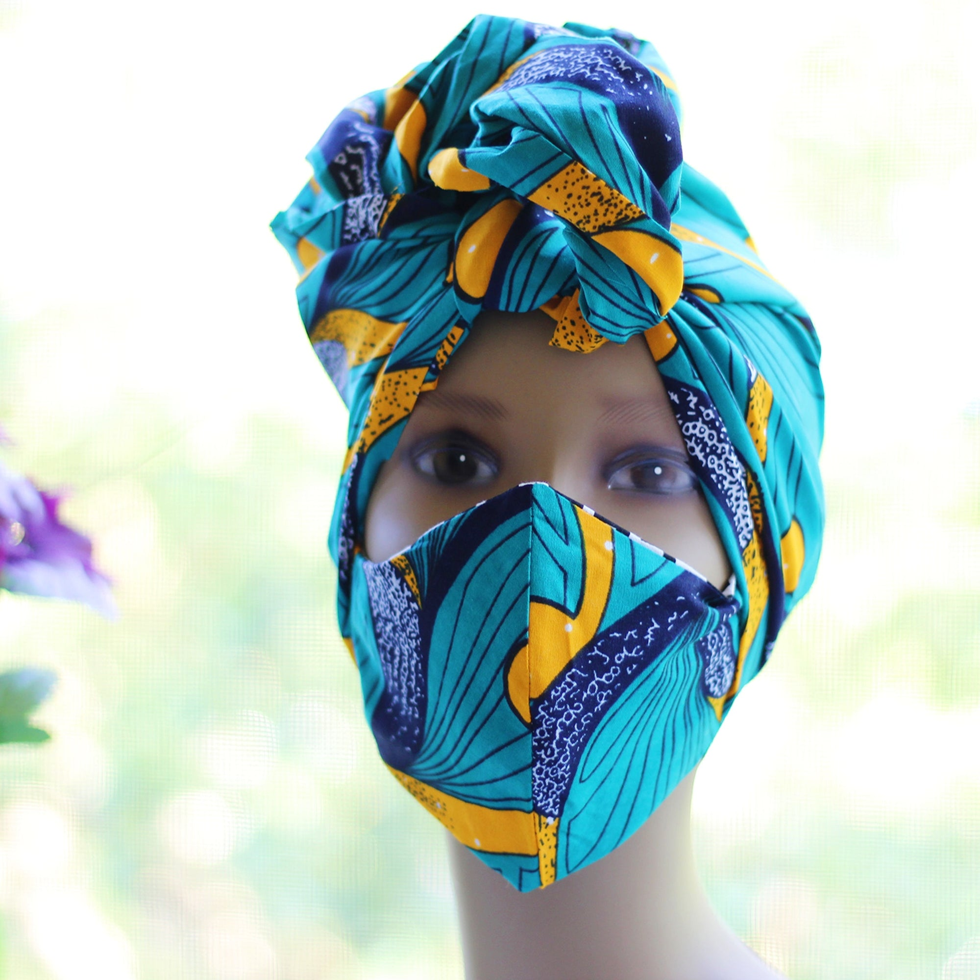 Ankara /African Print Mask (Headwrap Set) - Teal /Orange / Black Floral  Print - Africas Closet