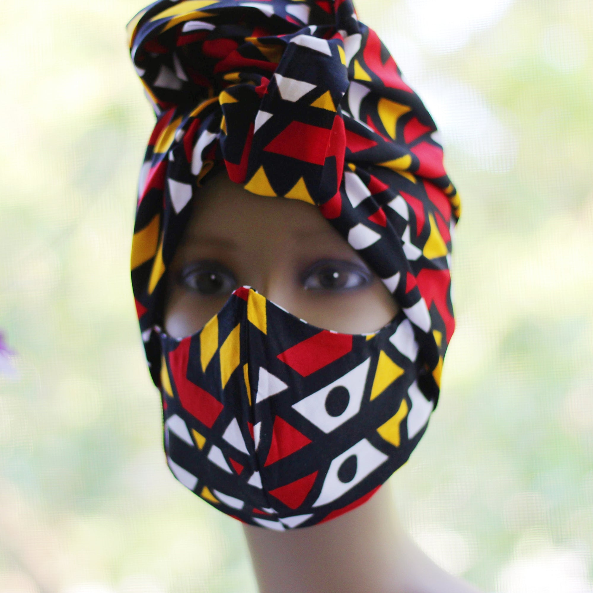 Ankara /African Print Mask (Headwrap Set) - Red/ Orange Tribal Print - Africas Closet