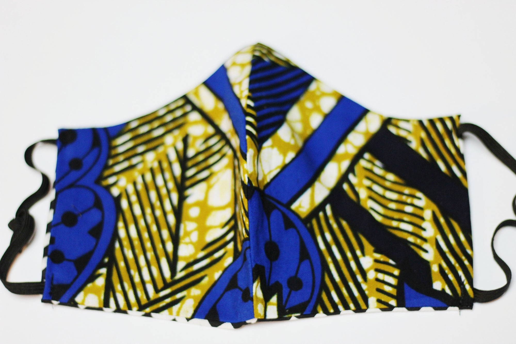 African Print Face Mask - Royal Blue /Gold/Black Tribal Print