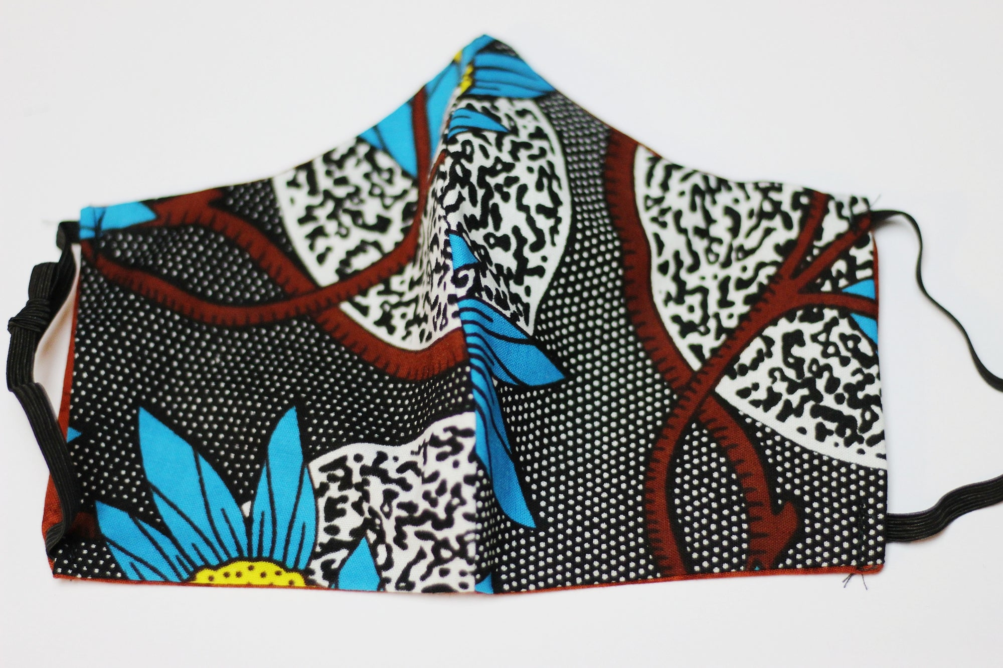 African Print Face Mask - Teal/Black/White/Yellow Floral Print