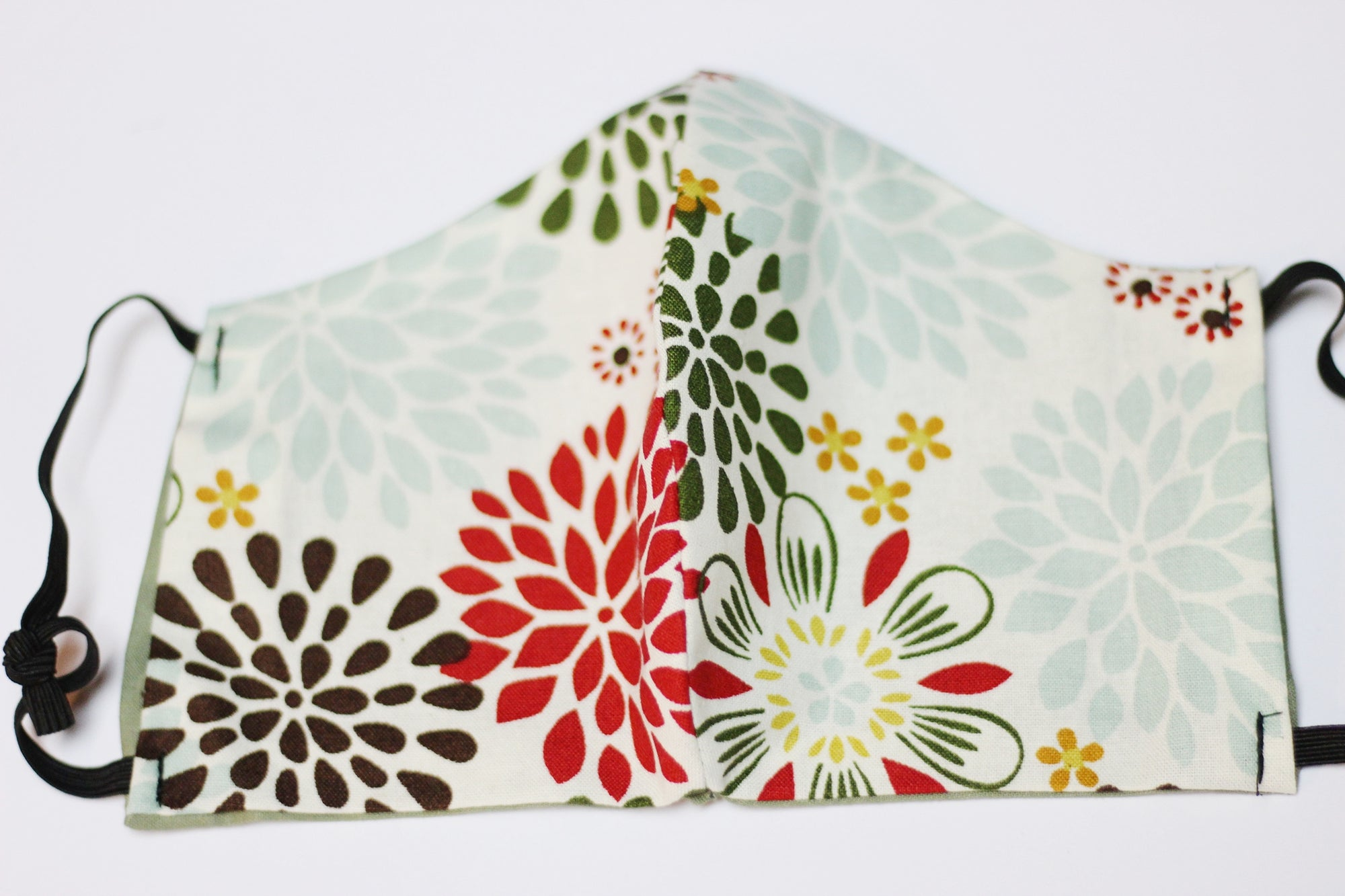 Face Mask - Green/Red/White/ Floral Print