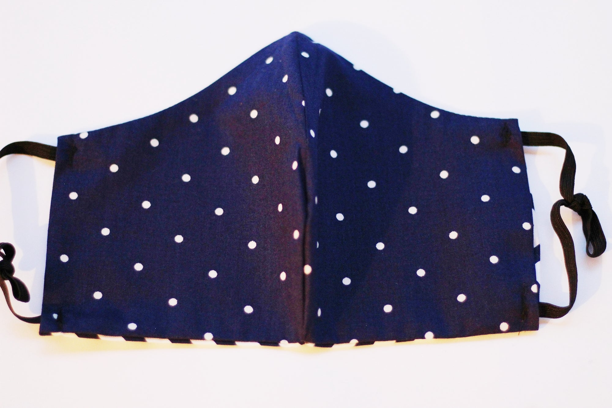 Face Mask - Navy Blue/White Polka Dot Print