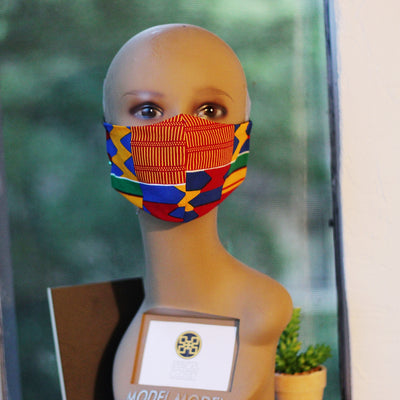 African Print Face Mask- Orange/Red/Blue Kente Print
