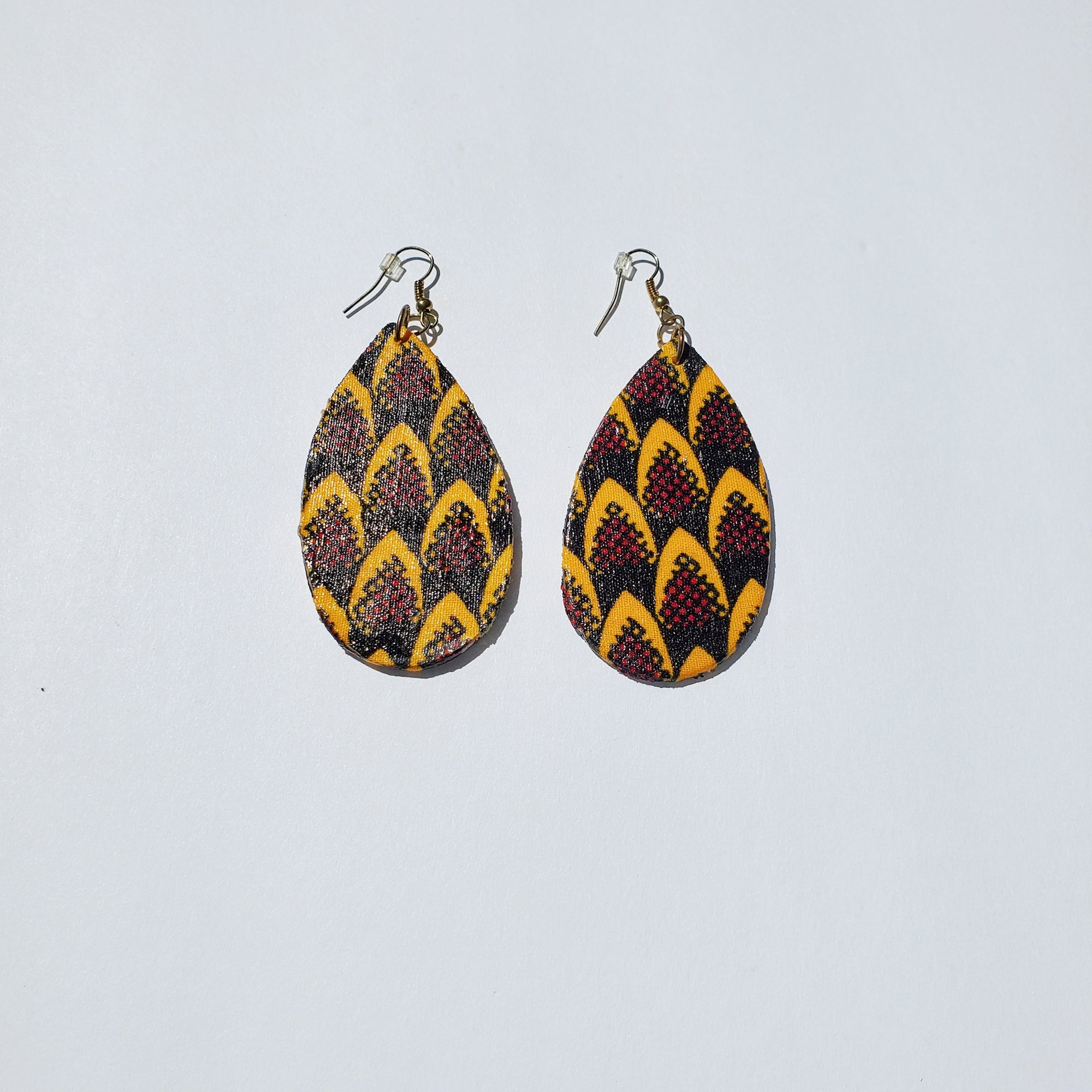 African/ Ankara Tear Drop Earrings(hooked) - Black/Orange/Red Print