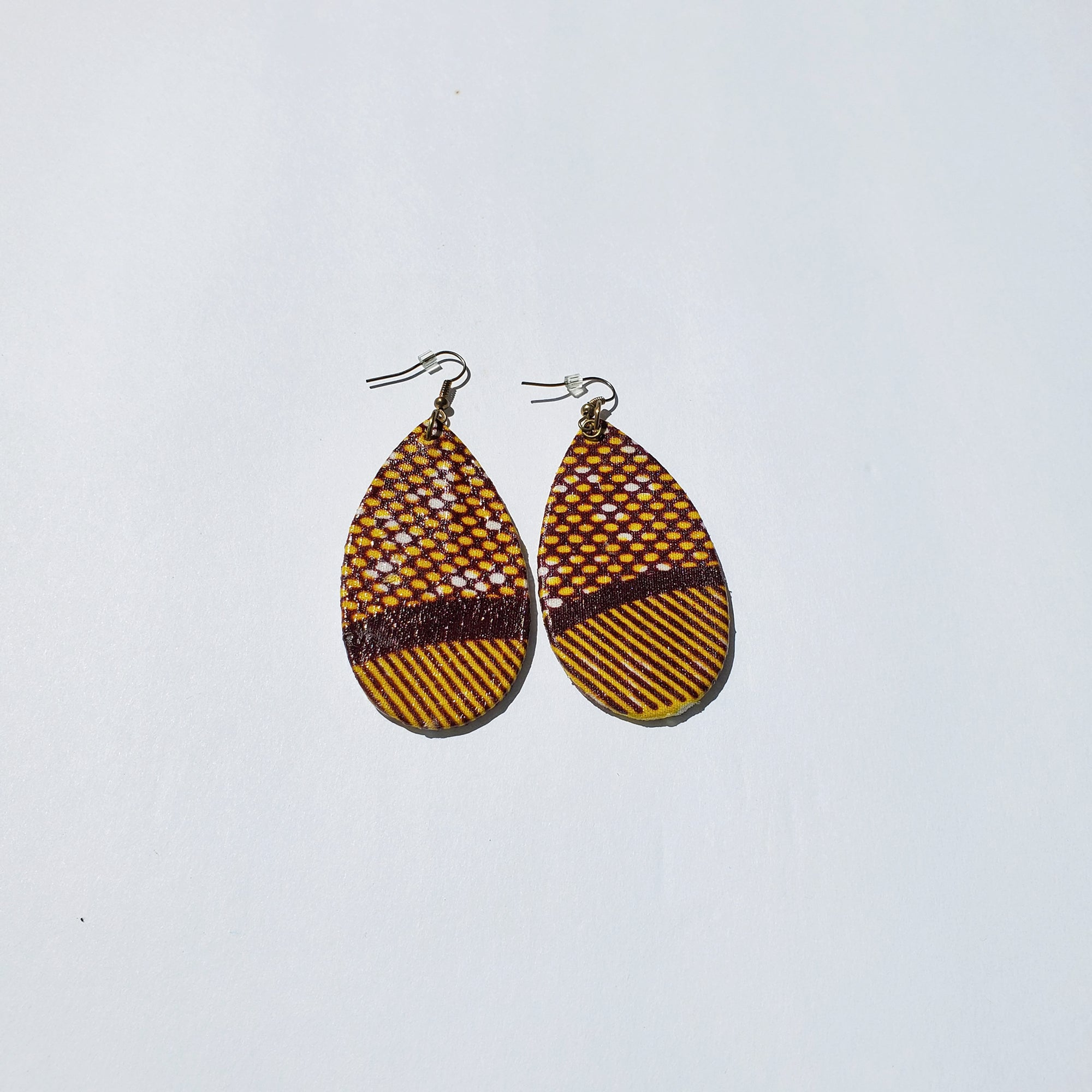 African/ Ankara Tear Drop Earrings(hooked) - Brown/Orange Print