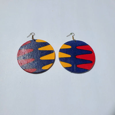 African/ Ankara Hoop Earrings(hooked) - Red/Orange/Blue Print