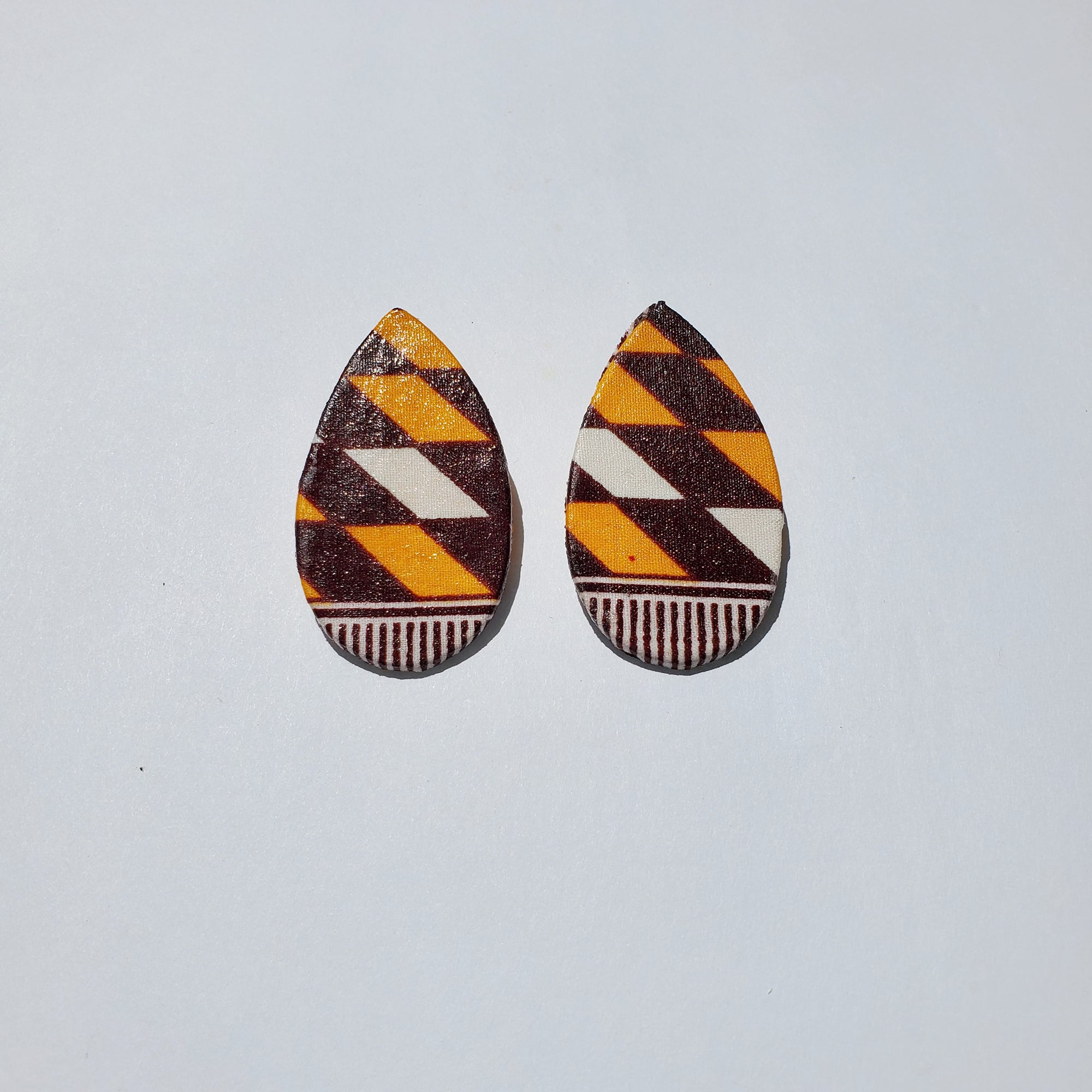 African/ Ankara Tear Drop Earrings(studded) - Brown/Orange /White Geometric Print
