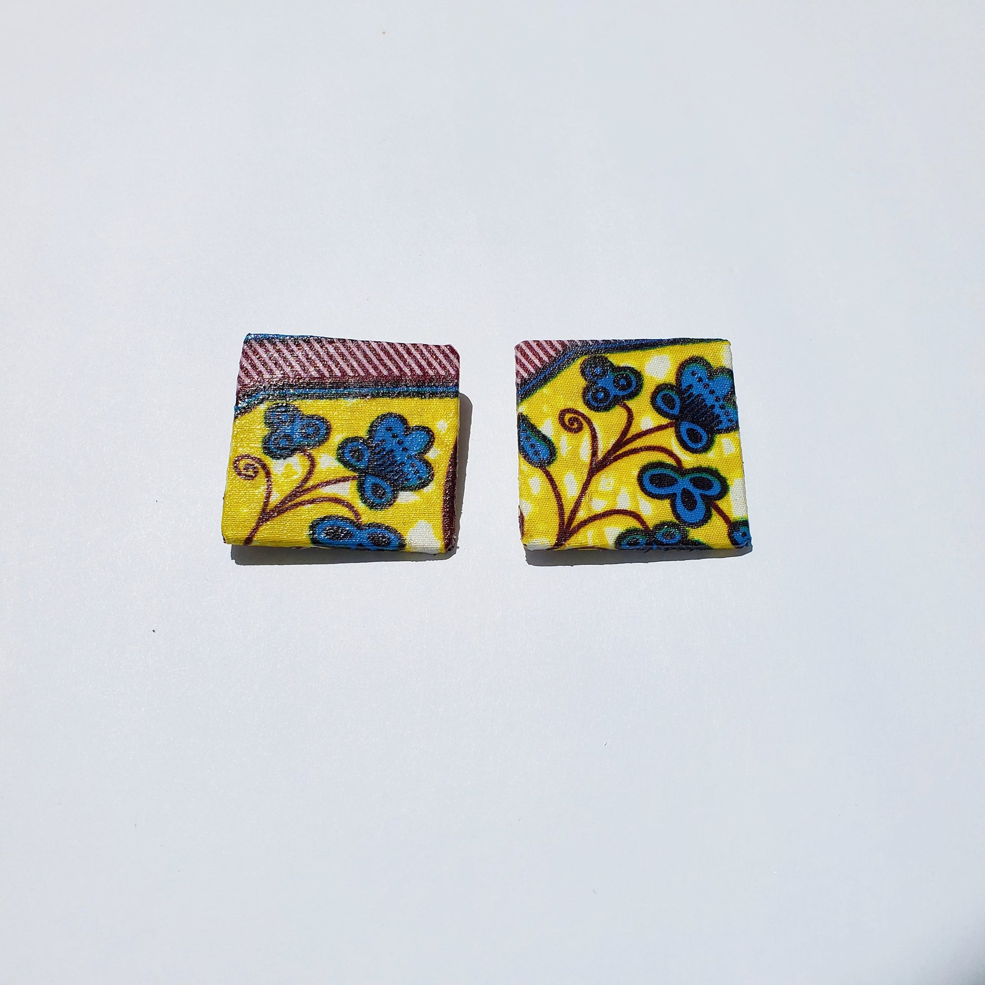 African/ Ankara Square Earrings(studded) - Brown/Blue Print