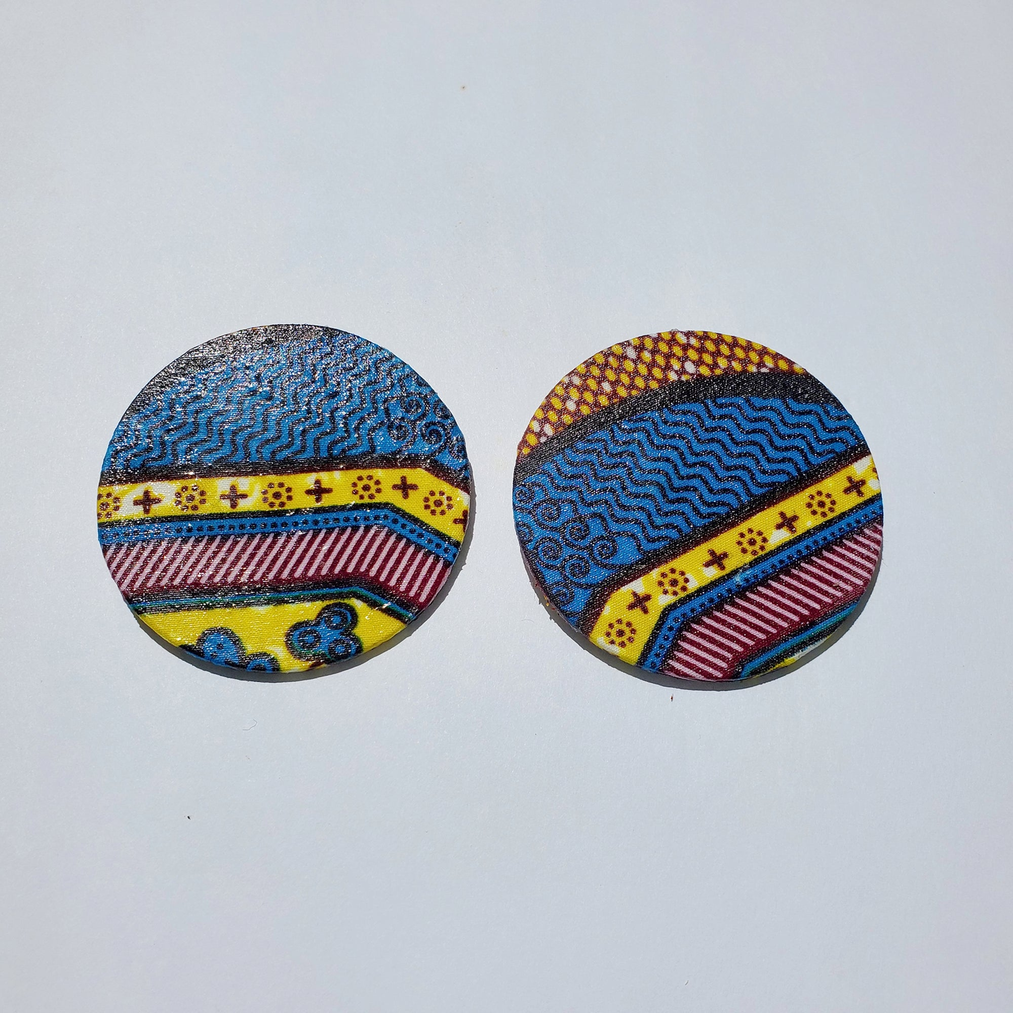 African Ankara Hoop Earrings(studded) - Blue/Brown Print