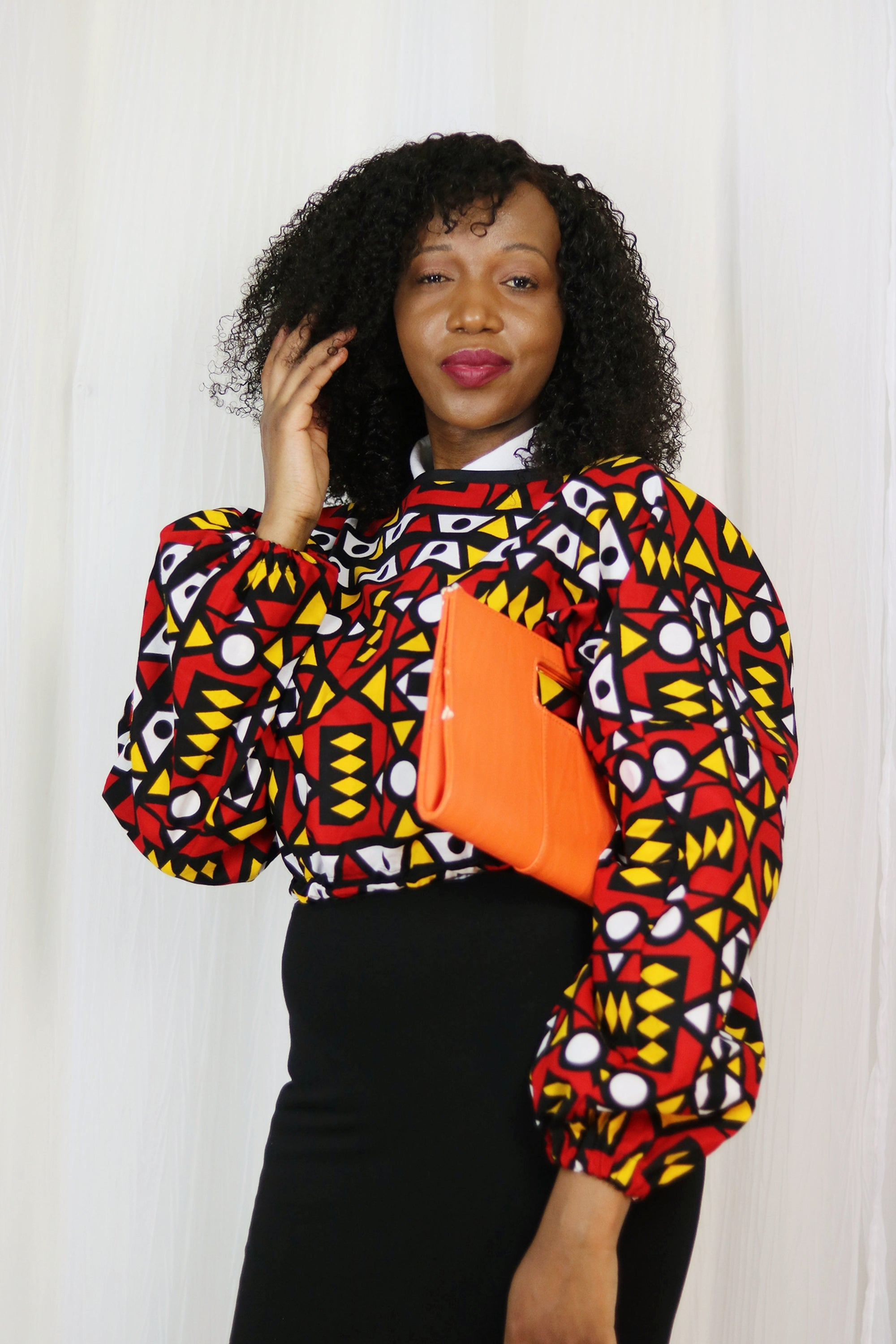 AFRICAN PRINT/ANKARA LONG SLEEVE FALL CROP TOP (ELASTIC WAISTBAND DETAIL) - RED/WHITE/BLACK/ORANGE TRIBAL PRINT