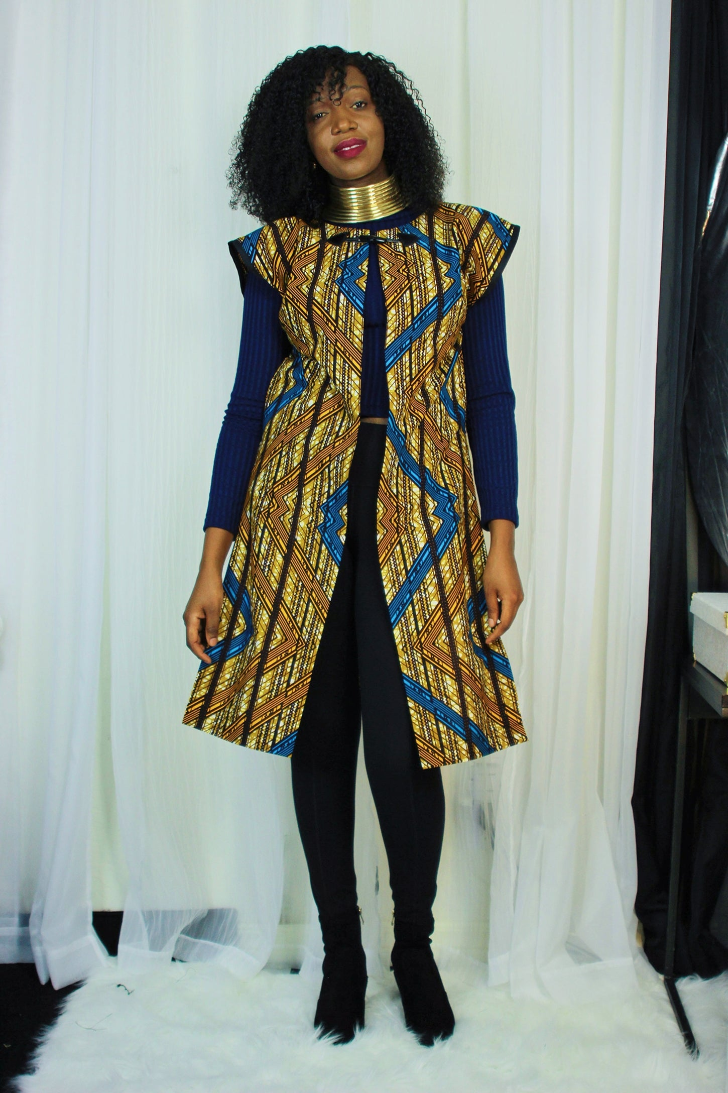 AFRICAN PRINT /ANKARA MIDI LONGLINE SHRUG - BLUE/ORANGE/BROWN TRIBAL PRINT