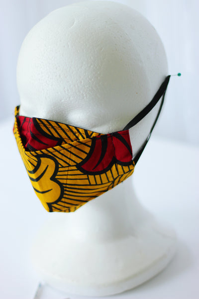 African Print 3D Face Mask - Orange /Red/ Black Floral Print