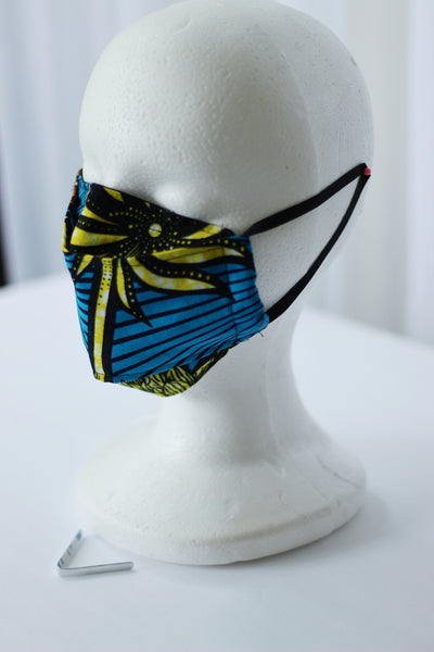 African Print 3D Face Mask - Blue /Orange/ Black Floral Print
