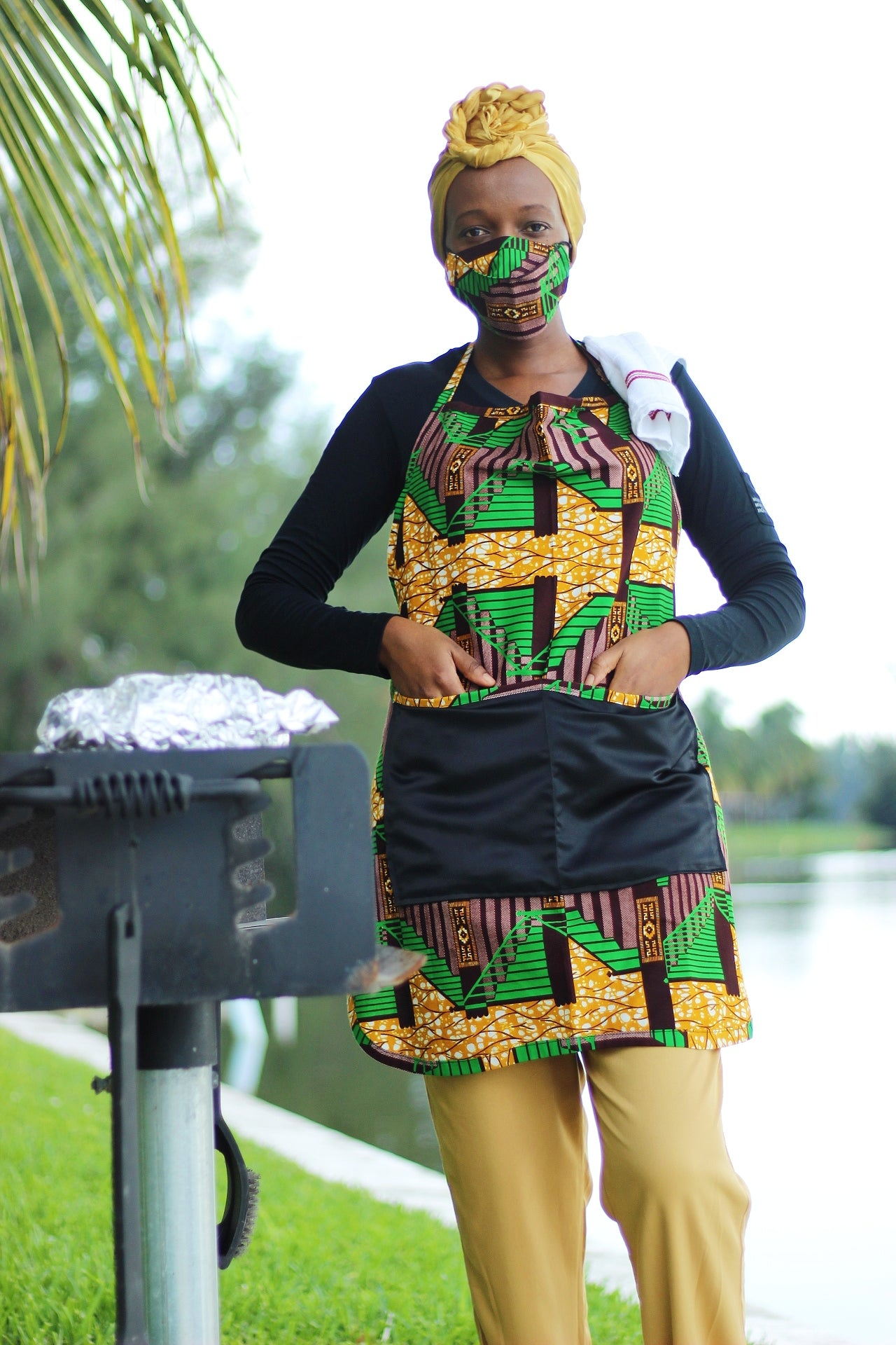 African/Ankara/Kitenge  Print Kitchen Apron & 3D Mask Set - Green/Brown/ Beige Kente Print