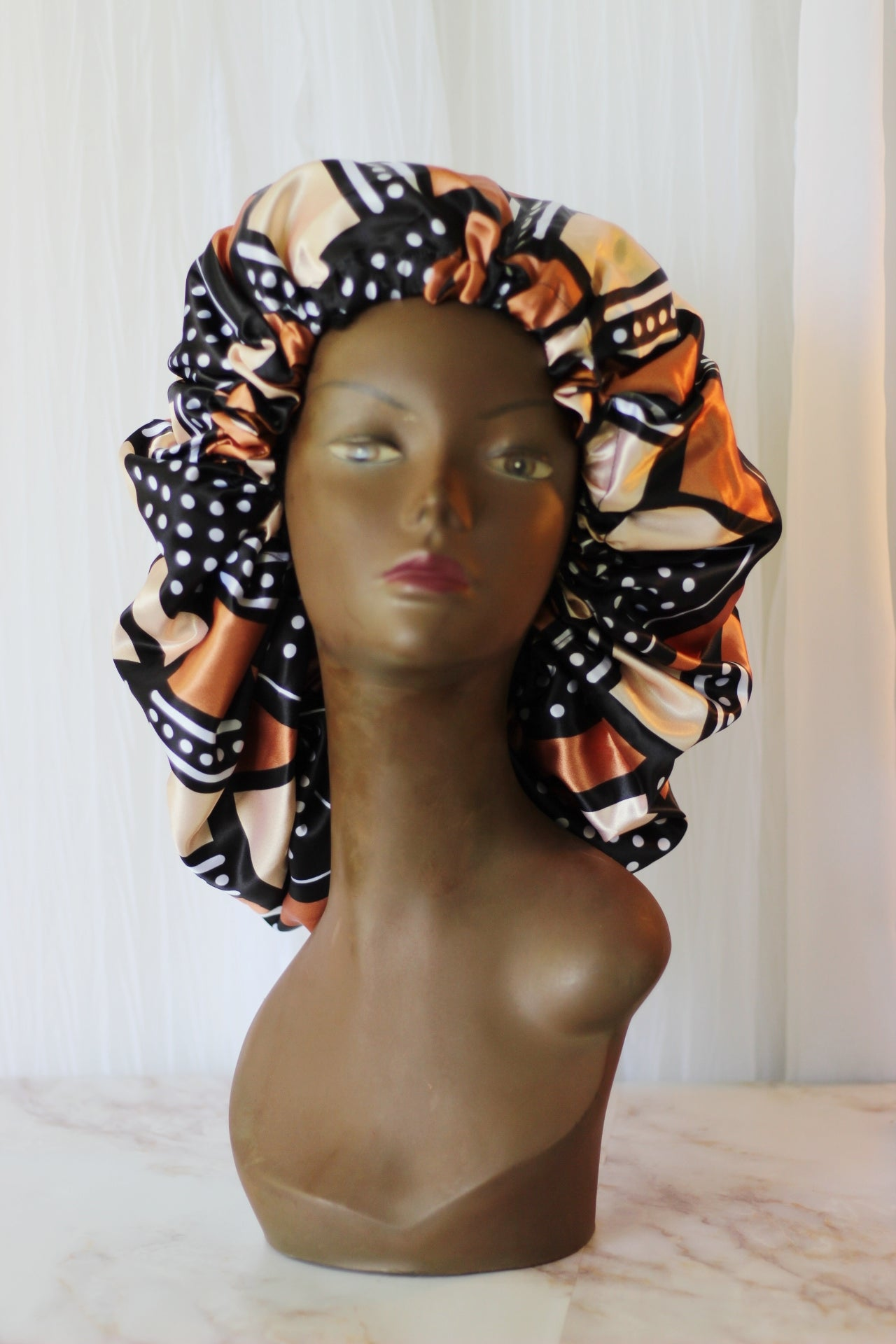 African Tribal Print Satin Lined Hair Bonnet- White/Brown/Black Tribal