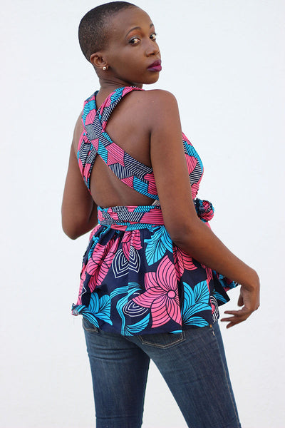 African Print Mtindo Pink Infinity Top - Blue /Pink Tribal & Floral Print - Africas Closet