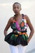 African Print Mtindo Black Infinity Top - Black /Green/Pink Floral Print - Africas Closet