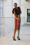 African Kente Print Wrap Pencil Skirt - Red /Orange Tribal Print - Africas Closet