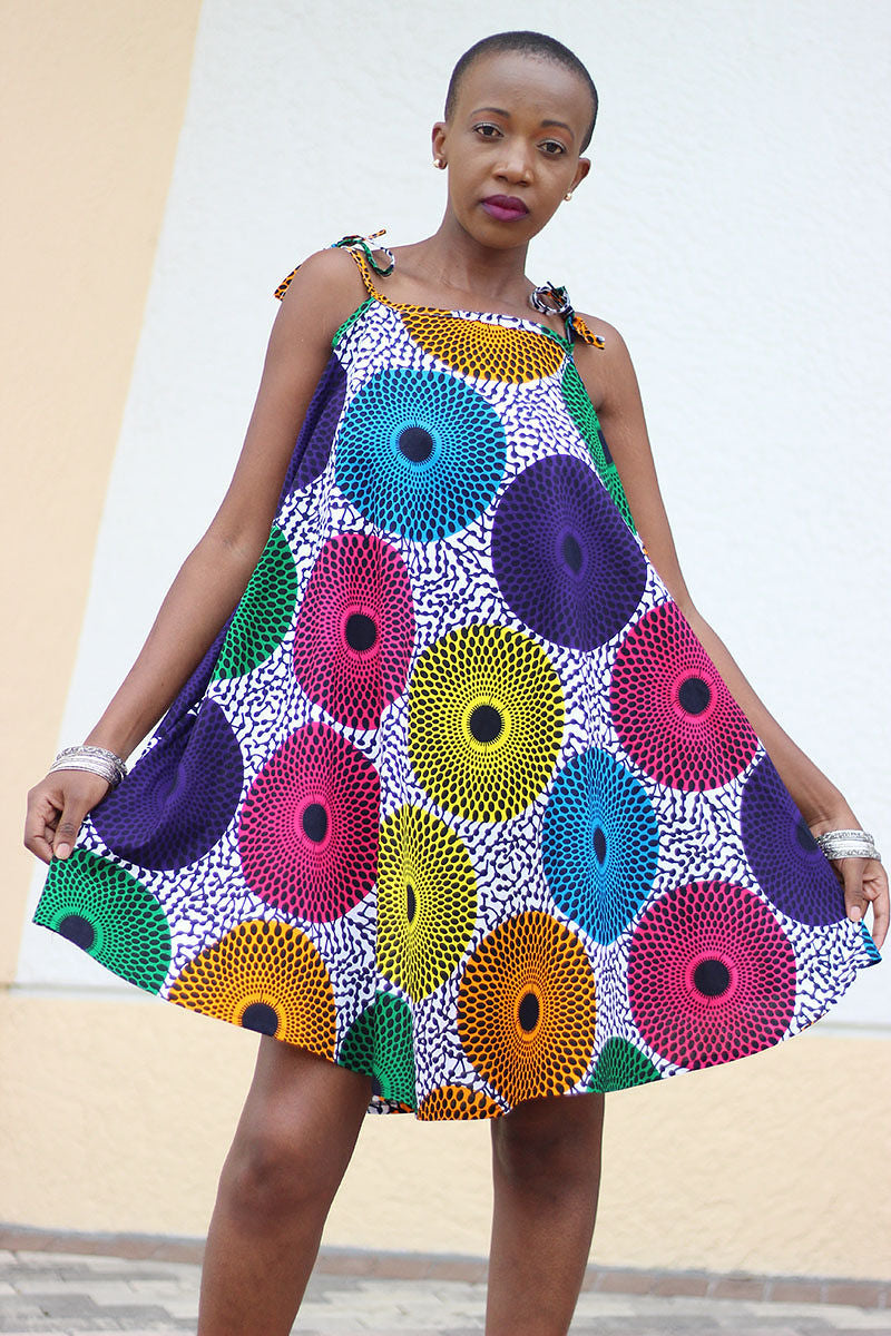 African Print  Tausi Dress - Blue /Orange Circle Print - Africas Closet