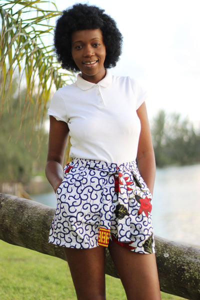 African Print /Kitenge/Ankara(Mini) Shorts - White/Black/Red Floral Print - Africas Closet