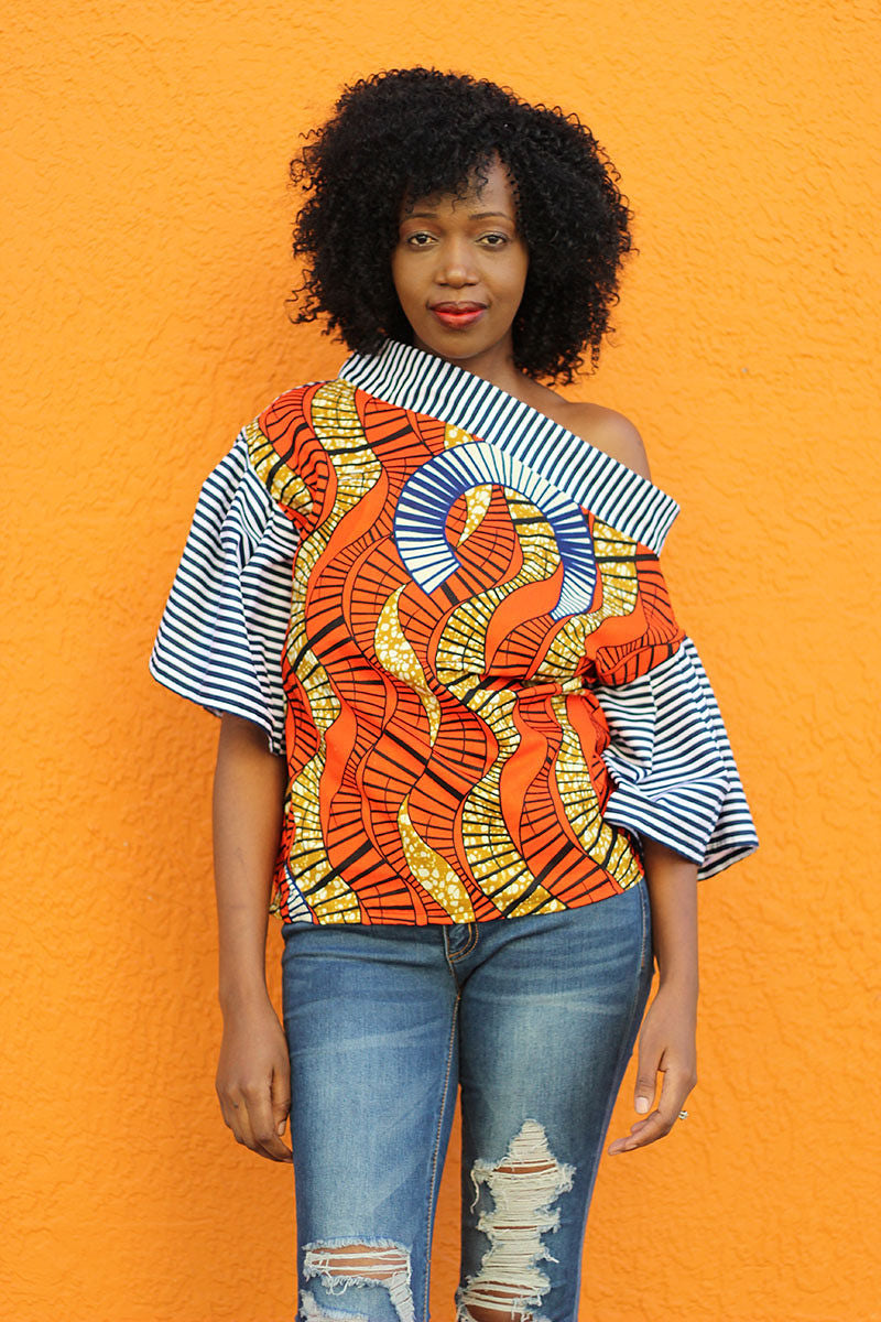 African Print Shift Mwezi  Top - Orange/Navy Blue Geometric Print - Africas Closet