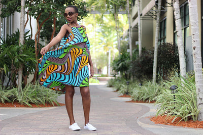 African Print Midi Flair Tausi Dress -Turquoise  /Orange/Brown Wave Print - Africas Closet