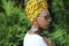 African Print/Ankara Headwrap -Yellow/Black Tribal Print - Africas Closet