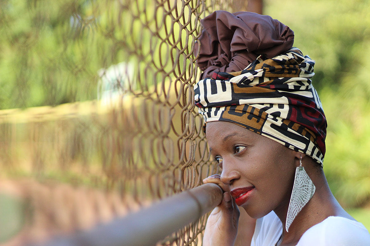 African Print /Ankara Headwrap - Brown /Cream Tribal Print - Africas Closet