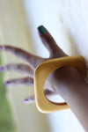 African Square Edged Wooden Bangle - Gold Painted - Africas Closet