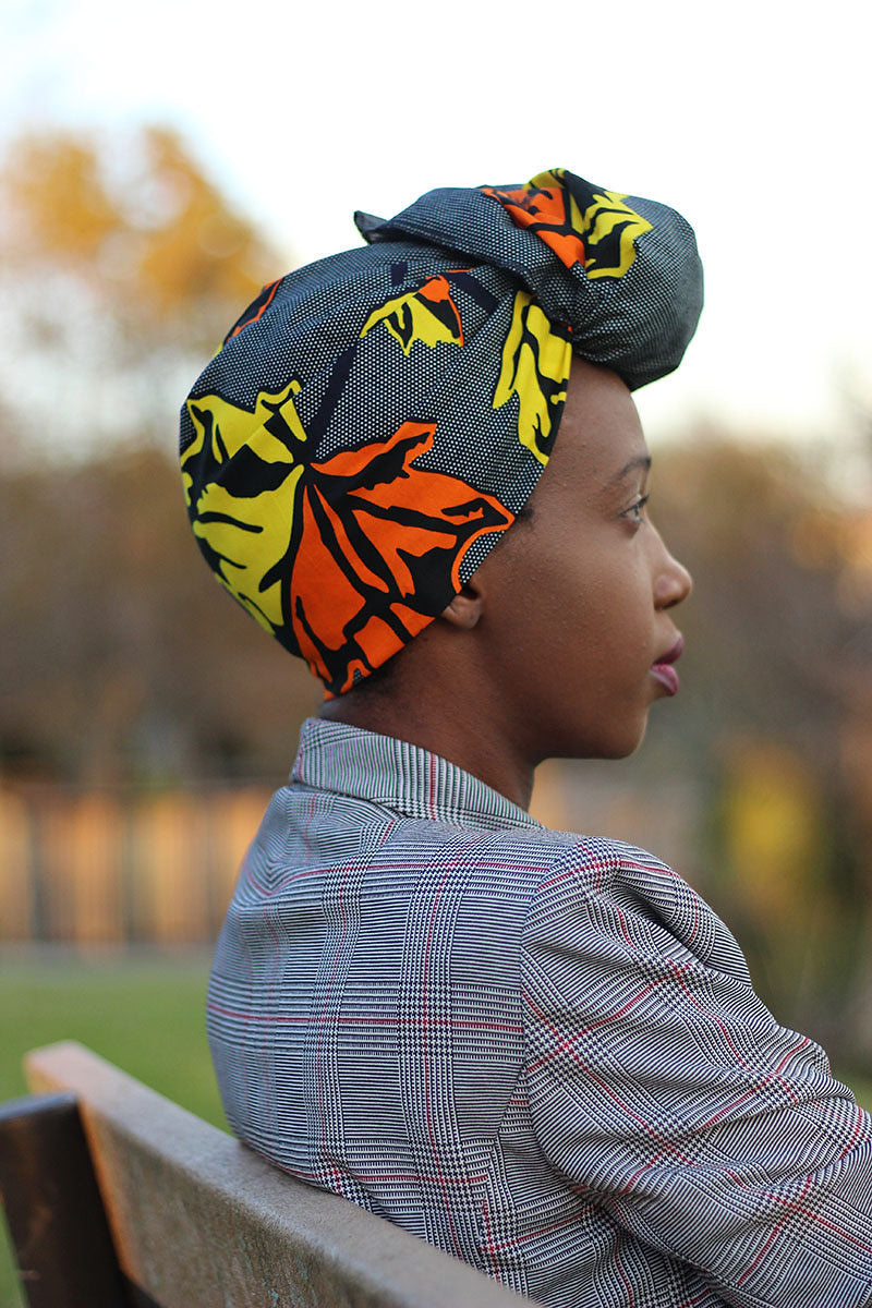 African Print Head Wrap -Grey/Orange Leaf Print - Africas Closet