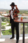 African Print Blazer Jacket - Orange/Green Floral Print - Africas Closet