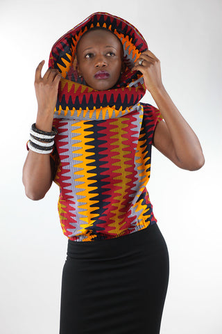 African Cowl Neck Top(Hoodie)-Orange/Red Wave Print
