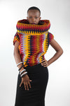 African Cowl Neck Top(Hoodie)-Orange/Red Wave Print - Africas Closet