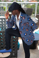 African Print Mens Blazer Jacket - Blue/White & Brown Circle(Concentric) Print - Africas Closet