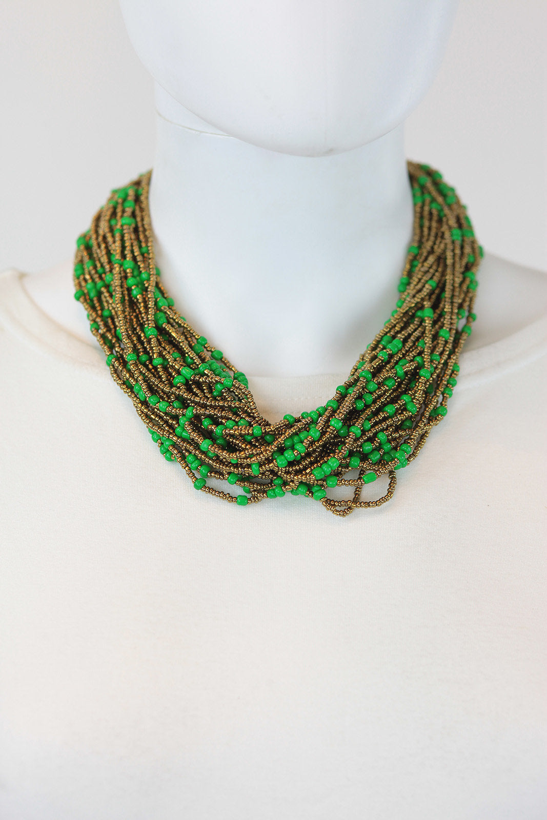 African Maasai Beaded Necklace-Green/Gold - Africas Closet
