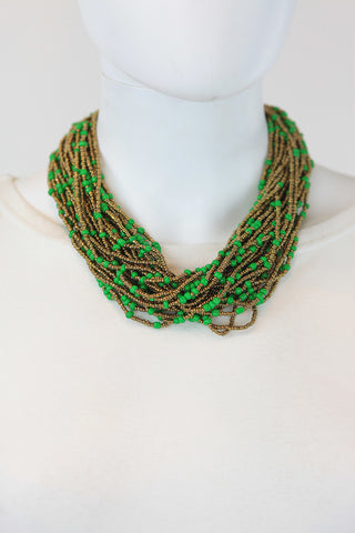 African Maasai Beaded Necklace-Green/Gold