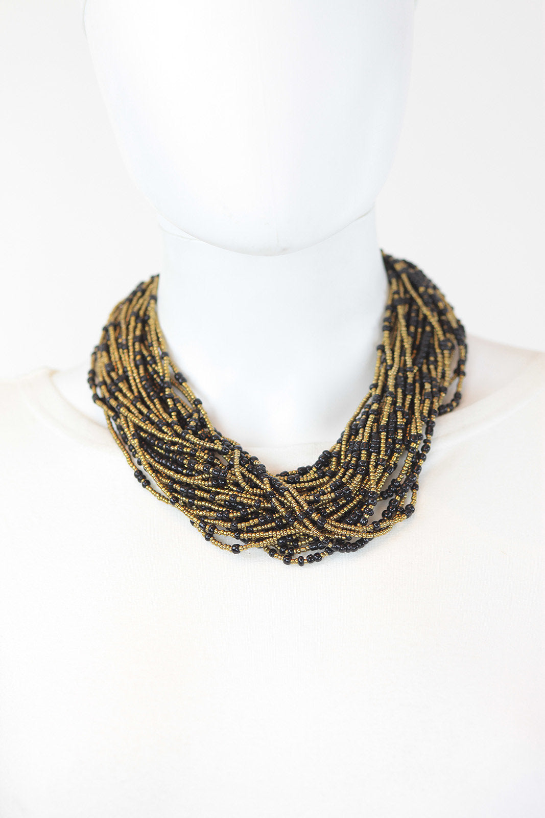 African Maasai Beaded Necklace-Gold/Black - Africas Closet