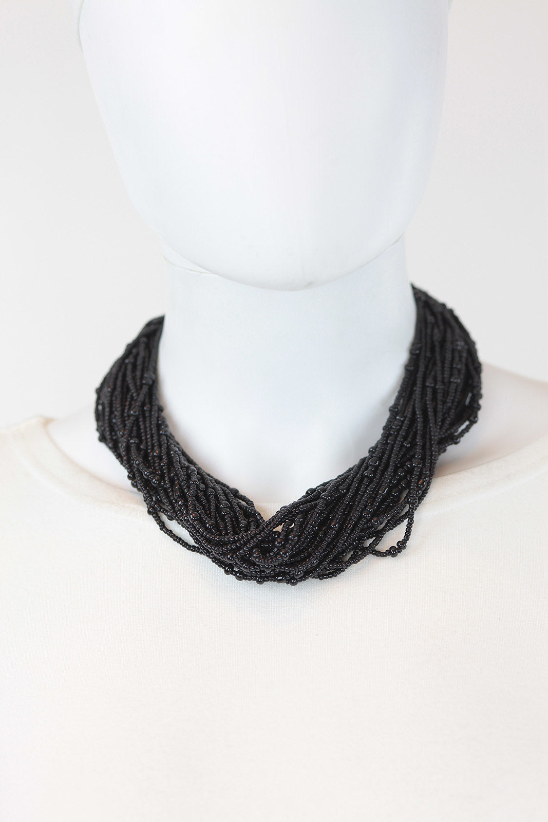 African Maasai Beaded Necklace-Black - Africas Closet