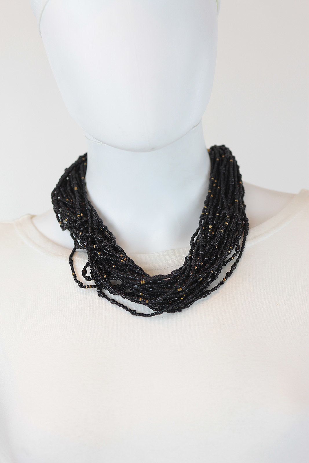 African Maasai Beaded Necklace-Black/Gold - Africas Closet