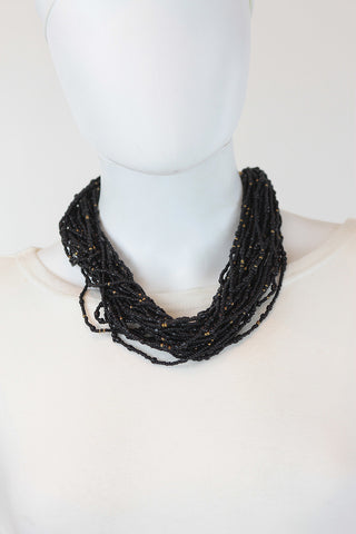 African Maasai Beaded Necklace-Black/Gold