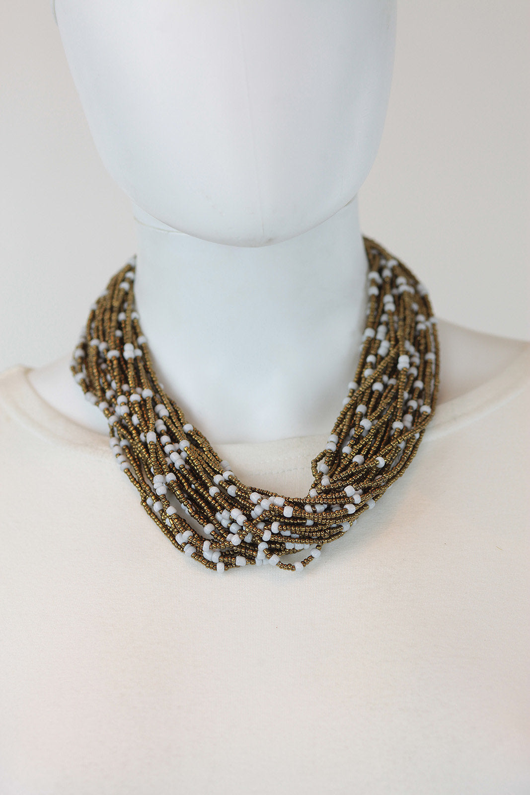 African Maasai Beaded  Necklace-White/Gold - Africas Closet