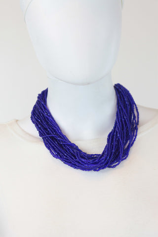 African Maasai Beaded Necklace-Royal Blue