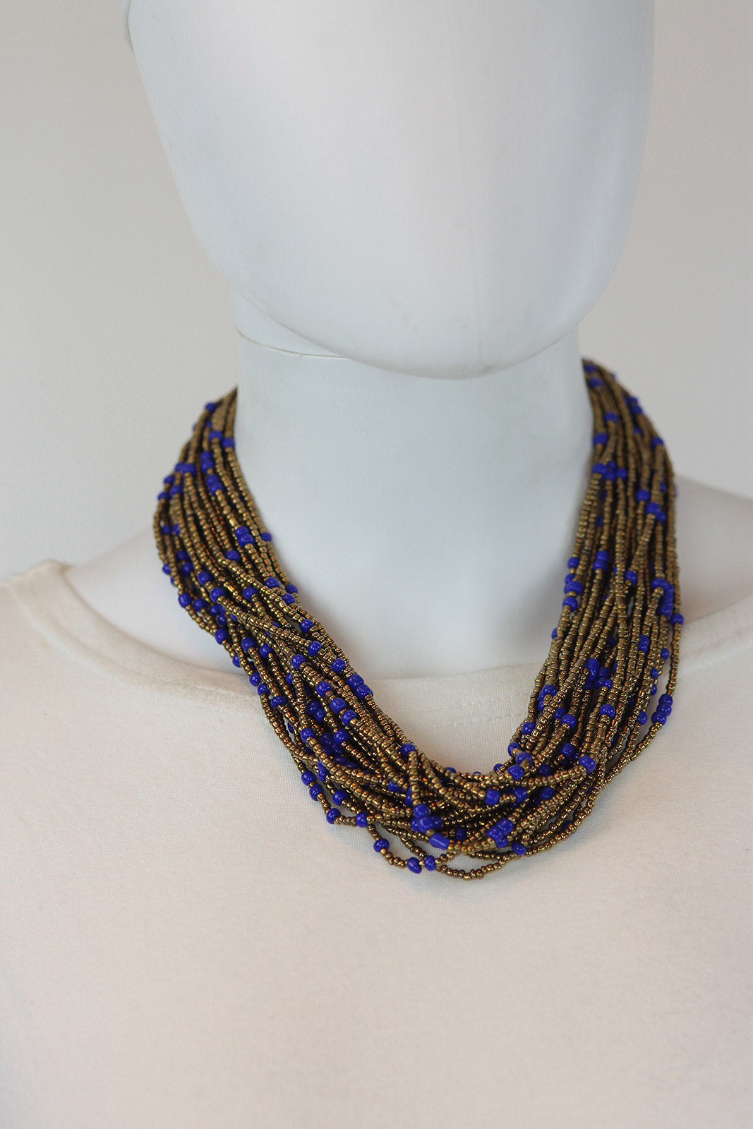 African Maasai Beaded Necklace-Gold/Royal Blue - Africas Closet