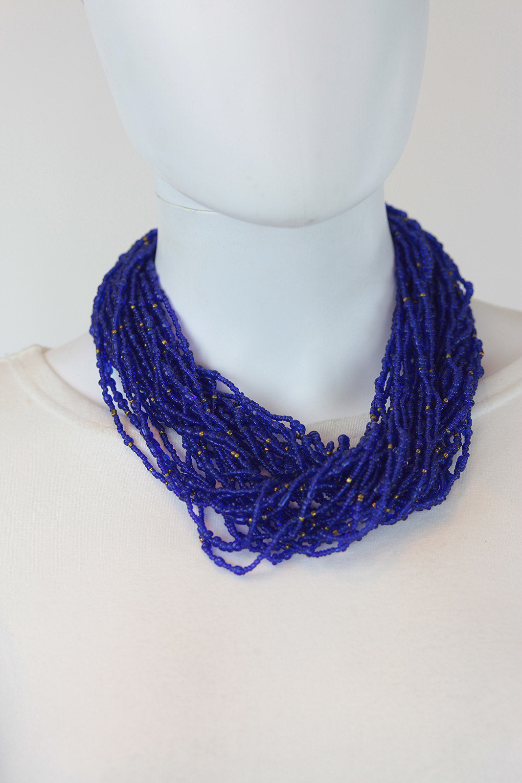 African Maasai Beaded Necklace-Royal Blue/Gold - Africas Closet