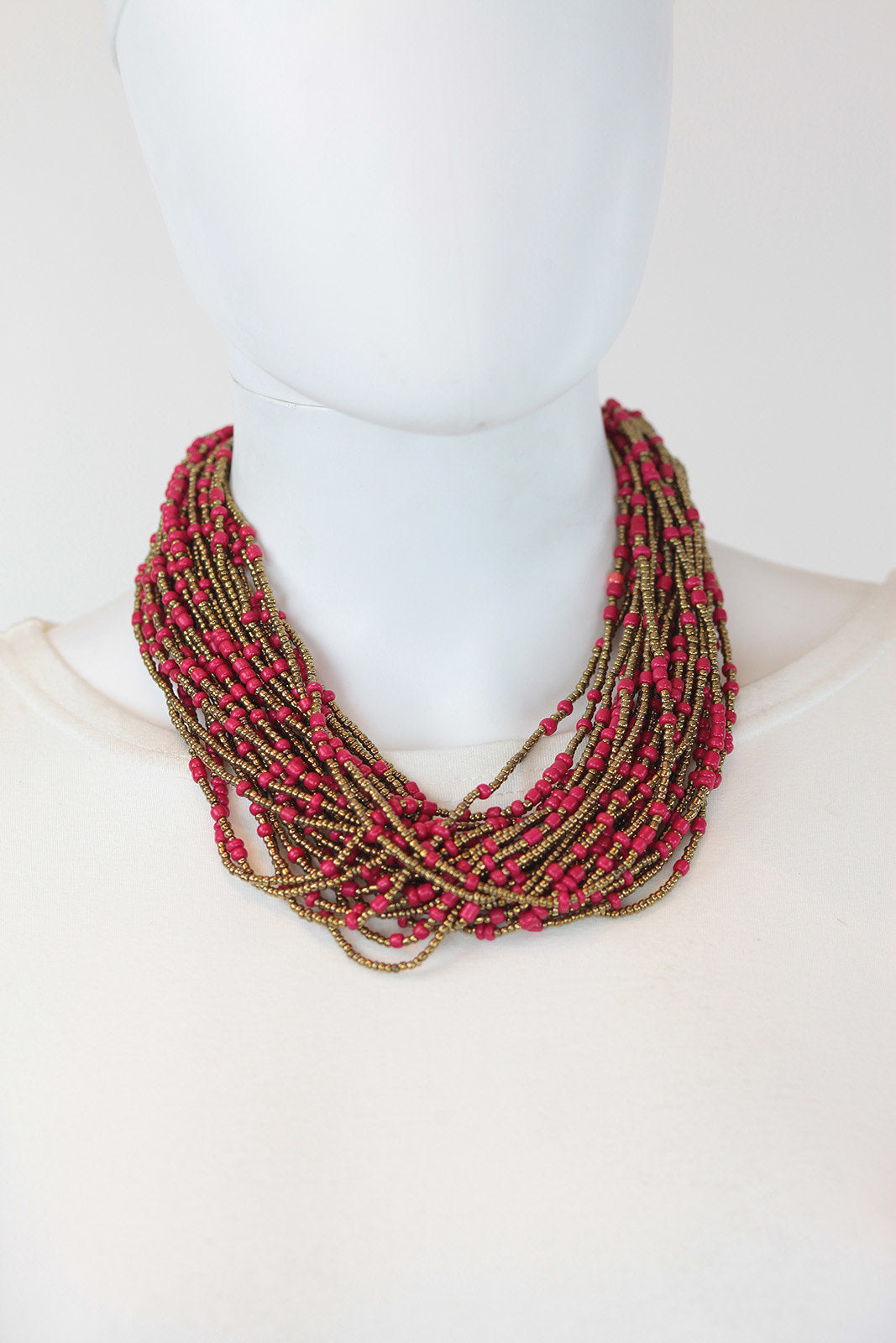 African Maasai Beaded Necklace-Pink/Gold - Africas Closet