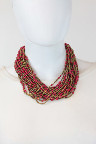 African Maasai Beaded Necklace-Pink/Gold