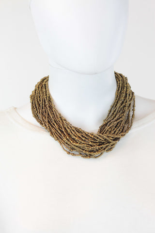 African Maasai Beaded Necklace-Gold