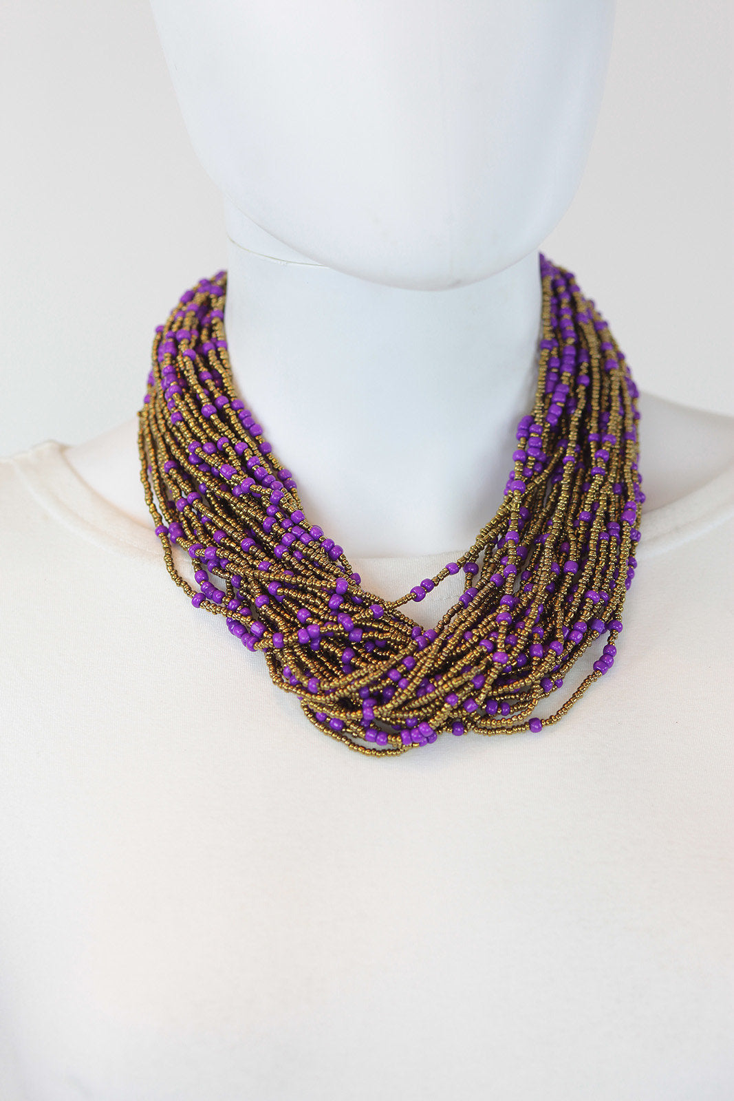 African Maasai Beaded  Necklace-Purple/Gold - Africas Closet