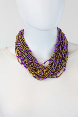 African Maasai Beaded  Necklace-Purple/Gold