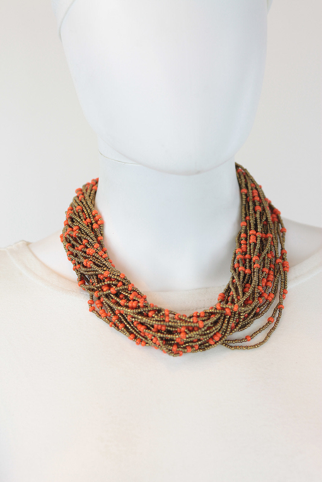 African Maasai Beaded  Necklace-Orange/Gold - Africas Closet